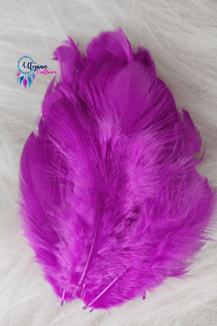 Violet Colour Chicken Feathers For Crafts (Approx 100 pieces per packet) - Utopian Craftsmen