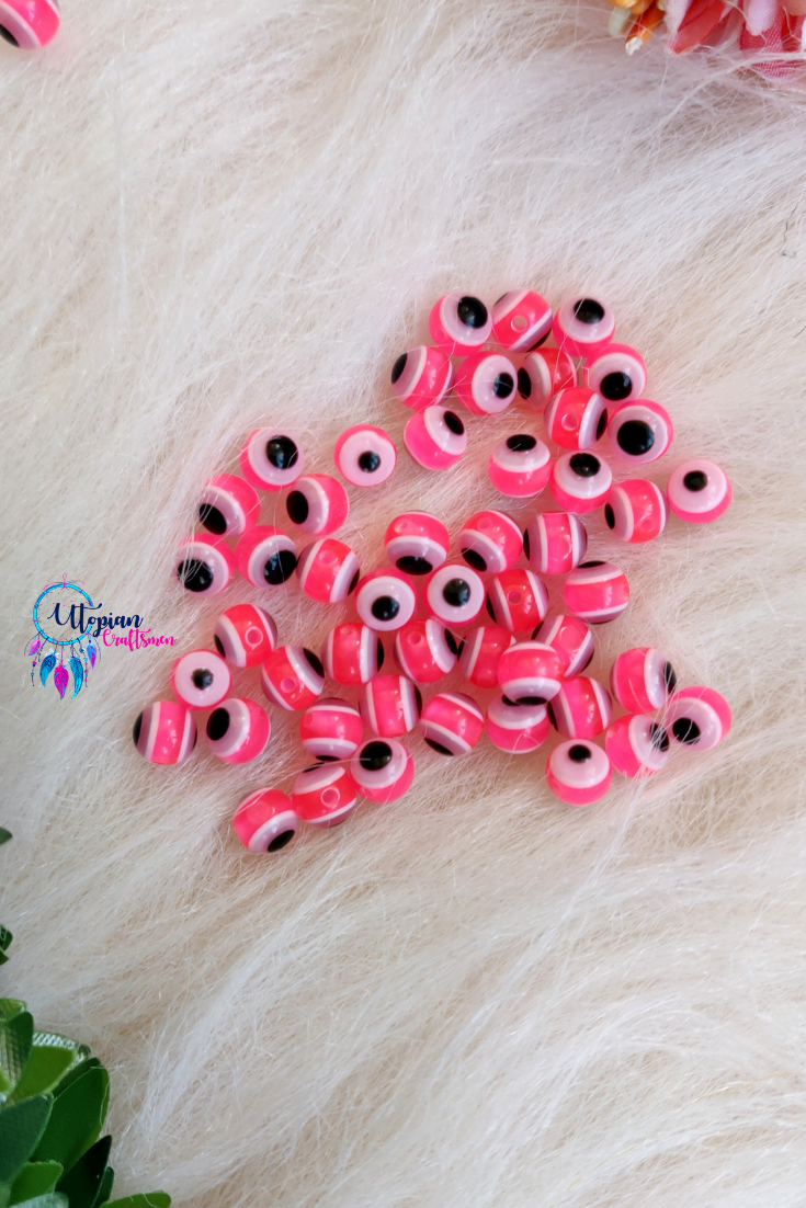 Pink Colour Round 6mm Acrylic based Evil Eye Beads - 25 Pcs in a Packet - Utopian Craftsmen