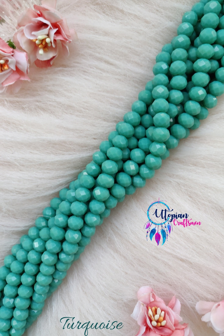 Turquoise Colour 8mm Faceted Opaque Beads 8mm -Approx 35 Pcs - Utopian Craftsmen