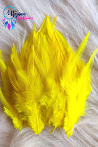 Yellow Long Feathers For Crafts (100 pieces per packet) - Utopian Craftsmen