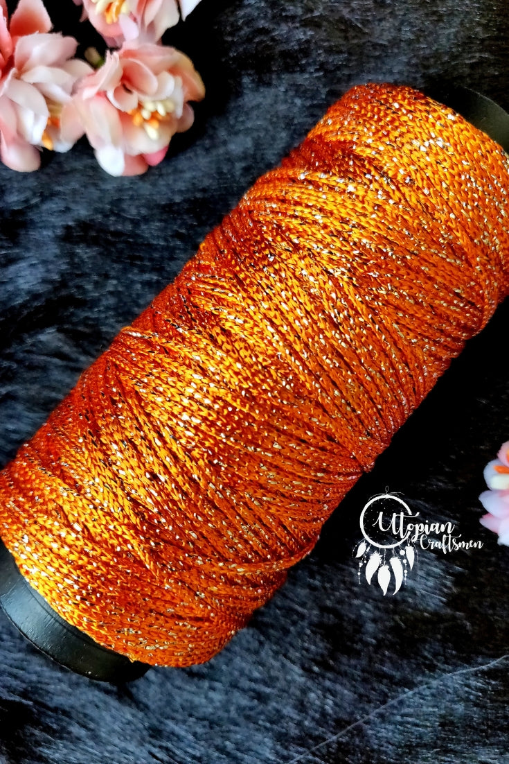 Zari Brown colour Purse Cone Thread for Weaving & Knitting - Approx 125 metres. - Utopian Craftsmen