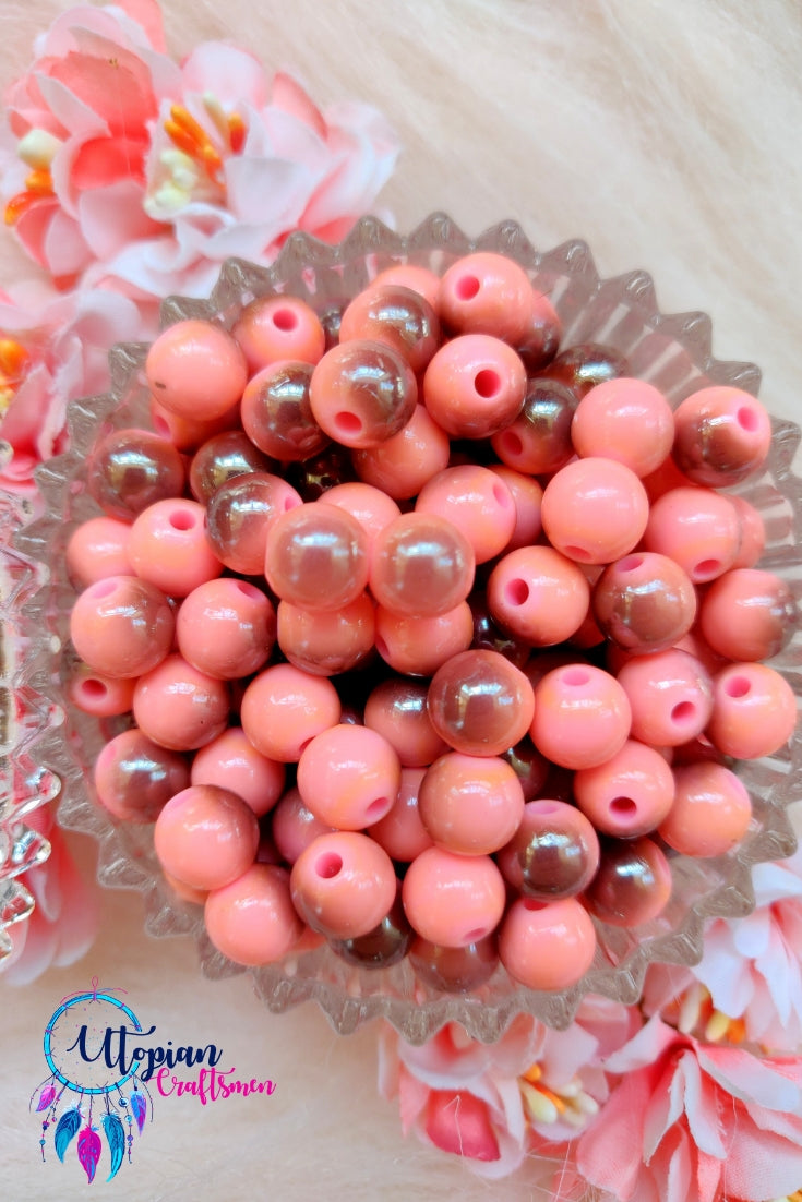 Dual shade Pink Colour Round Acrylic Beads - 100 Pcs in a Packet - Utopian Craftsmen