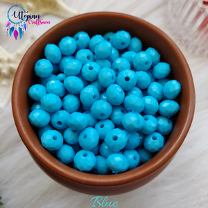 Blue Colour 7mm Faceted Opaque Beads -Approx 100 Pcs - Utopian Craftsmen