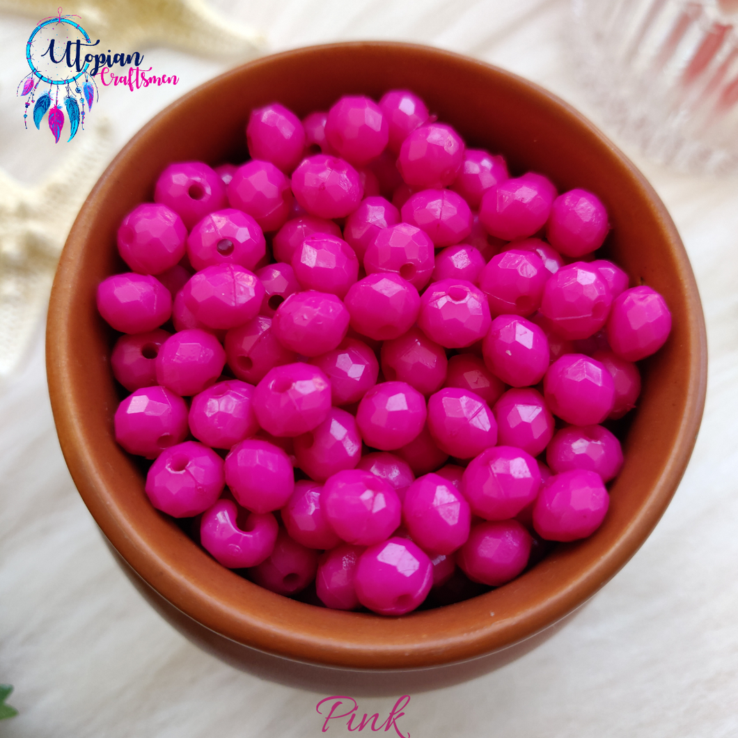 Pink Colour 7mm Faceted Opaque Beads -Approx 100 Pcs - Utopian Craftsmen