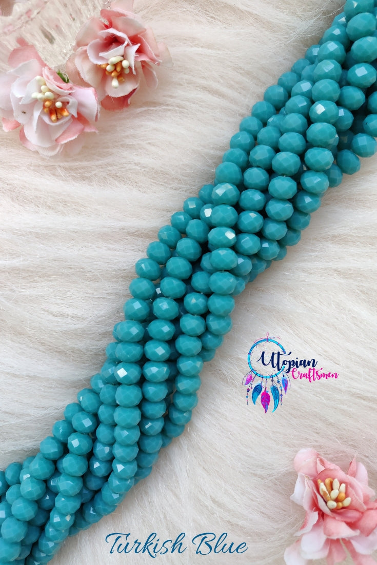 Turkish Blue Colour 8mm Faceted Opaque Beads 8mm -Approx 35 Pcs - Utopian Craftsmen