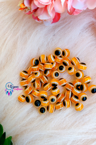 Yellow Colour Round 6mm Acrylic based Evil Eye Beads - 25 Pcs in a Packet