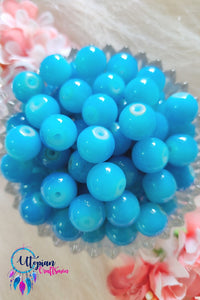 Round Shaded Light Blue Colour Glass Beads 10mm - Approx 35 Pcs - Utopian Craftsmen