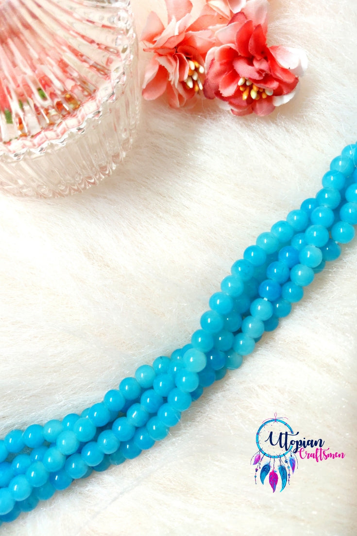Round Shaded Sky Blue Colour Glass Beads 6mm - Approx 60 Pcs - Utopian Craftsmen