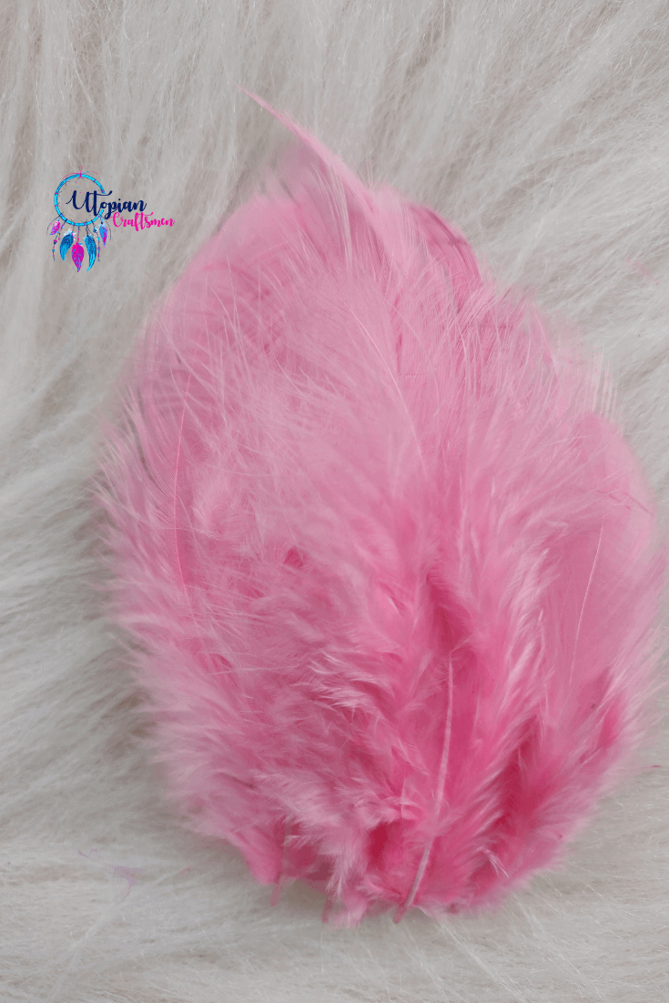 100 pcs Light Pink Colour Chicken Feathers by Utopian Craftsmen - Utopian Craftsmen