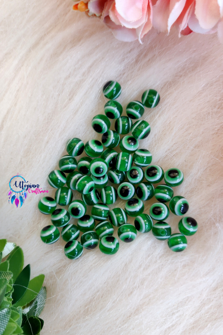 Green Colour Round 6mm Acrylic based Evil Eye Beads - 25 Pcs in a Packet - Utopian Craftsmen