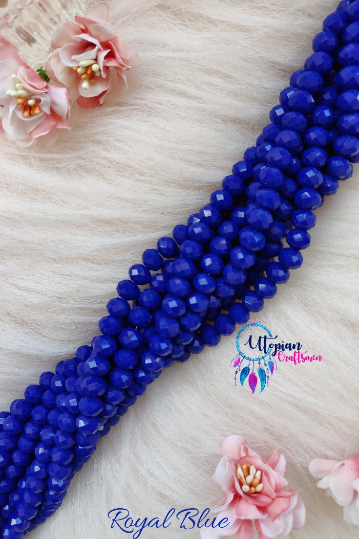 Royal Blue Colour 8mm Faceted Opaque Beads 8mm -Approx 35 Pcs - Utopian Craftsmen