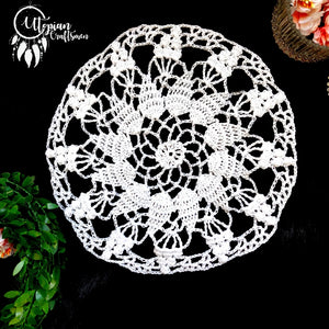 Handmade 8 inches White Colour Crochet Doilies - Mercerised Cotton - Utopian Craftsmen