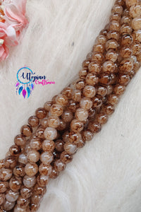 Shaded Brown Colour Round Glass Beads by Utopian Craftsmen- 8mm (50 Pieces) - Utopian Craftsmen