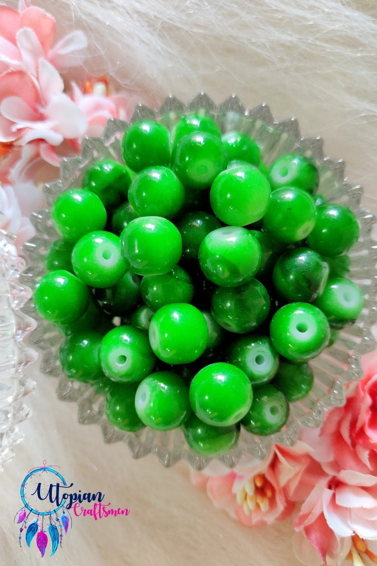 Round Shaded Green Colour Glass Beads 10mm - Approx 35 Pcs - Utopian Craftsmen