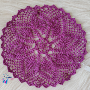 Approx 10 inches Purple colour Handmade Crochet Doilies - Utopian Craftsmen