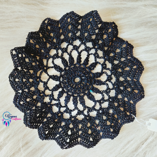Approx 6 inches black colour Handmade Crochet Doilies - Utopian Craftsmen