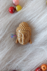 Beige Colour Gautam Buddha Shape Acrylic Beads 16mm by 14mm - Utopian Craftsmen