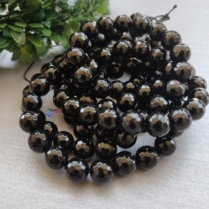 Black Colour Round Agate Beads string - 10mm (Approx. 38 Beads) - Utopian Craftsmen