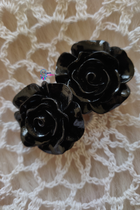 Black Colour Flower Shape Acrylic Beads (2 Pieces) - Size 1 inches - Utopian Craftsmen