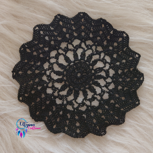 Handmade 6 inches Black Colour Crochet Doilies - Mercerised Cotton - Utopian Craftsmen