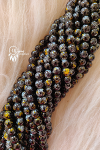Black Yellow Shaded Colour Round Glass Beads by Utopian Craftsmen - 8mm (50 Pieces) - Utopian Craftsmen