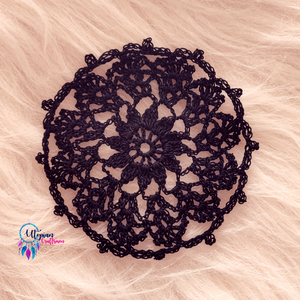 Handmade 4.5 inches Black Colour Crochet Doilies - Mercerised Cotton - Utopian Craftsmen