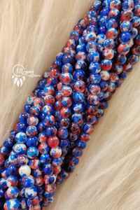 Blue Red White Shaded Colour Round Glass Beads by Utopian Craftsmen - 8mm (50 Pieces) - Utopian Craftsmen
