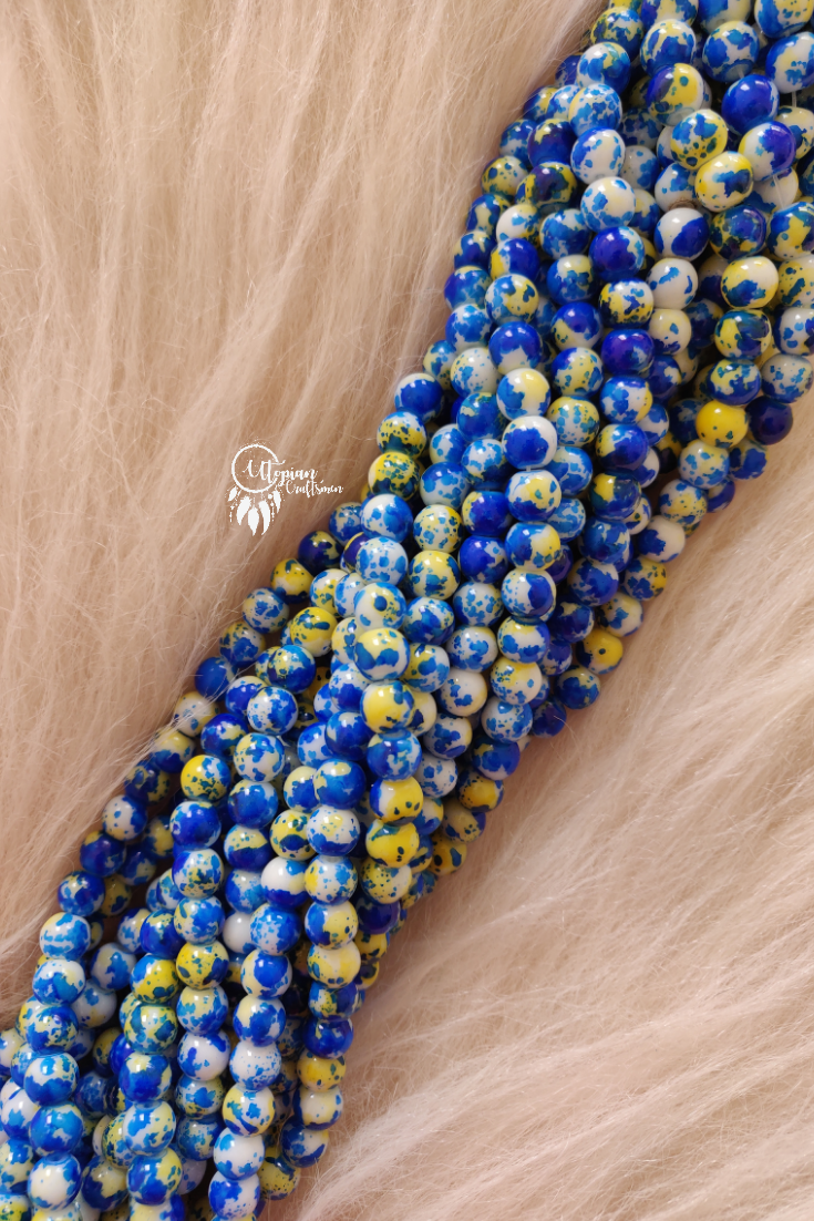 Blue Yellow Shaded Colour Round Glass Beads by Utopian Craftsmen- 8mm (50 Pieces) - Utopian Craftsmen