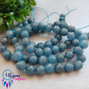 Bluish Grey Colour Round Agate Beads string - 10mm (Approx. 38 Beads) - Utopian Craftsmen