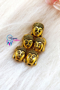 Set of 5 Gautam Buddha Shape Metal Beads 12mm by 10mm - Utopian Craftsmen