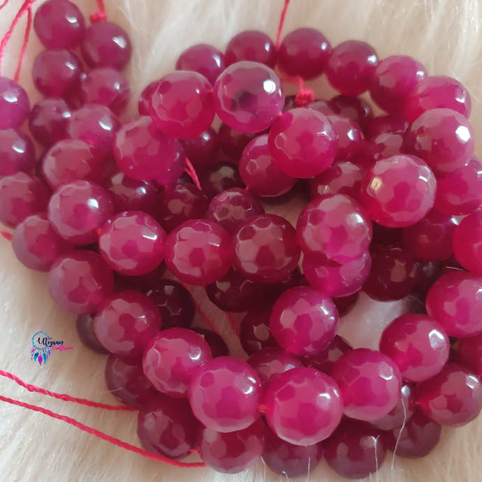 Cherry Red Colour Round Agate Beads string - 12mm (30+ Beads) - Utopian Craftsmen