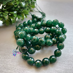 Dark Green Colour Round Agate Beads string - 10mm (Approx. 38 Beads) - Utopian Craftsmen