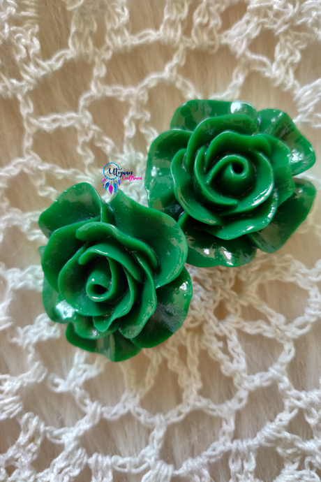 Dark shade of Green Colour Flower Shape Acrylic Beads (2 Pieces) - Size 1 inches - Utopian Craftsmen