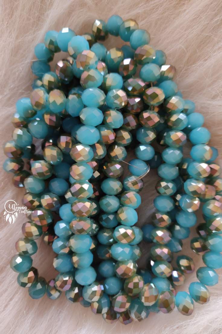 Dual Shade Blue Silver Colour 8mm Faceted Opaque Beads 8mm -Approx 70 Pcs - Utopian Craftsmen