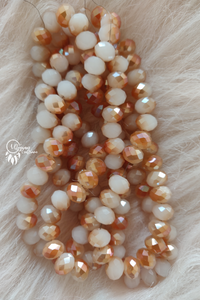 Dual Shade Golden White Colour 8mm Faceted Opaque Beads 8mm -Approx 70 Pcs - Utopian Craftsmen