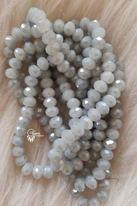 Dual Shade Grey White Colour 8mm Faceted Opaque Beads 8mm -Approx 70 Pcs - Utopian Craftsmen