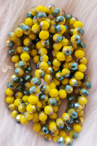 Dual Shade Yellow Colour 8mm Faceted Opaque Beads 8mm -Approx 70 Pcs - Utopian Craftsmen