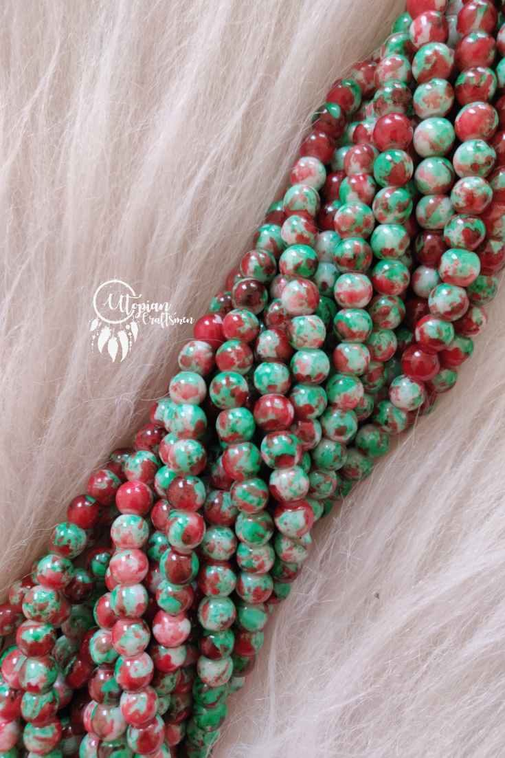 Faded Red Light Green Shaded Colour Round Glass Beads by Utopian Craftsmen - 8mm (50 Pieces) - Utopian Craftsmen