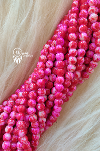 Fushia Pink White Shaded Colour Round Glass Beads by Utopian Craftsmen - 8mm (50 Pieces) - Utopian Craftsmen