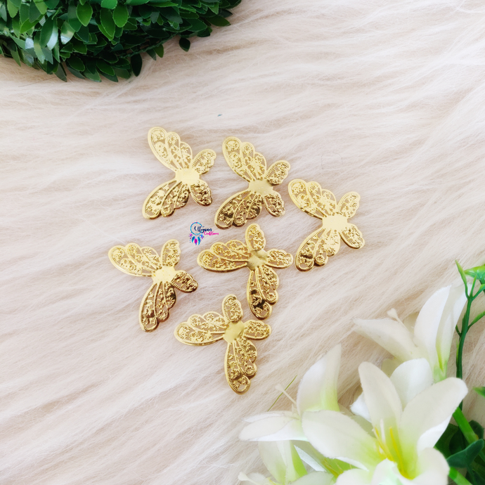 Golden Colour Butterfly Shape Metal Charm by Utopian Craftsmen - 15 Pcs- 21 Grams - Utopian Craftsmen