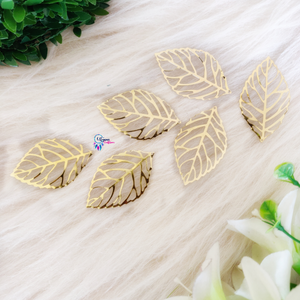 Golden Colour Leaf Shape Metal Charm by Utopian Craftsmen - 20 Pcs-20 Grams - Utopian Craftsmen