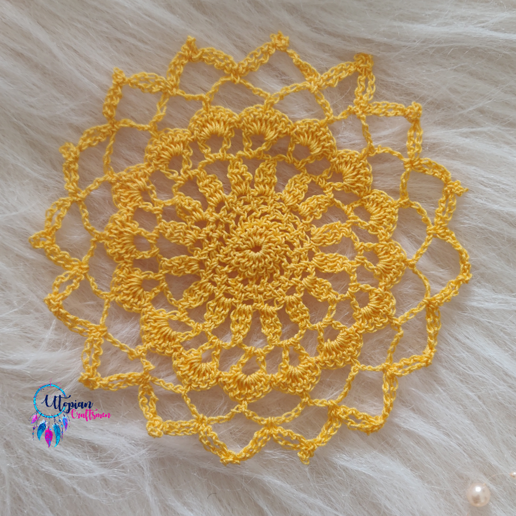 Handmade 5.5 inches Golden Yellow Colour Crochet Doilies - Mercerised Cotton - Utopian Craftsmen
