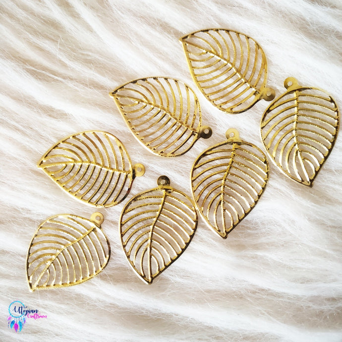 Golden Colour Leaf Shape Metal Charm by Utopian Craftsmen - 20 Pcs - Utopian Craftsmen
