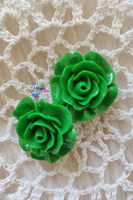 Green Colour Flower Shape Acrylic Beads (2 Pieces) - Size 1 inches - Utopian Craftsmen