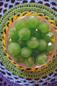 Green Colour 14mm Faceted Opaque Beads -10 Pcs - Utopian Craftsmen