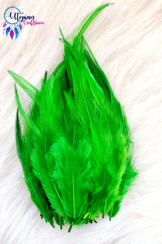 Green Long Feathers For Crafts (100 pieces per packet) - Utopian Craftsmen