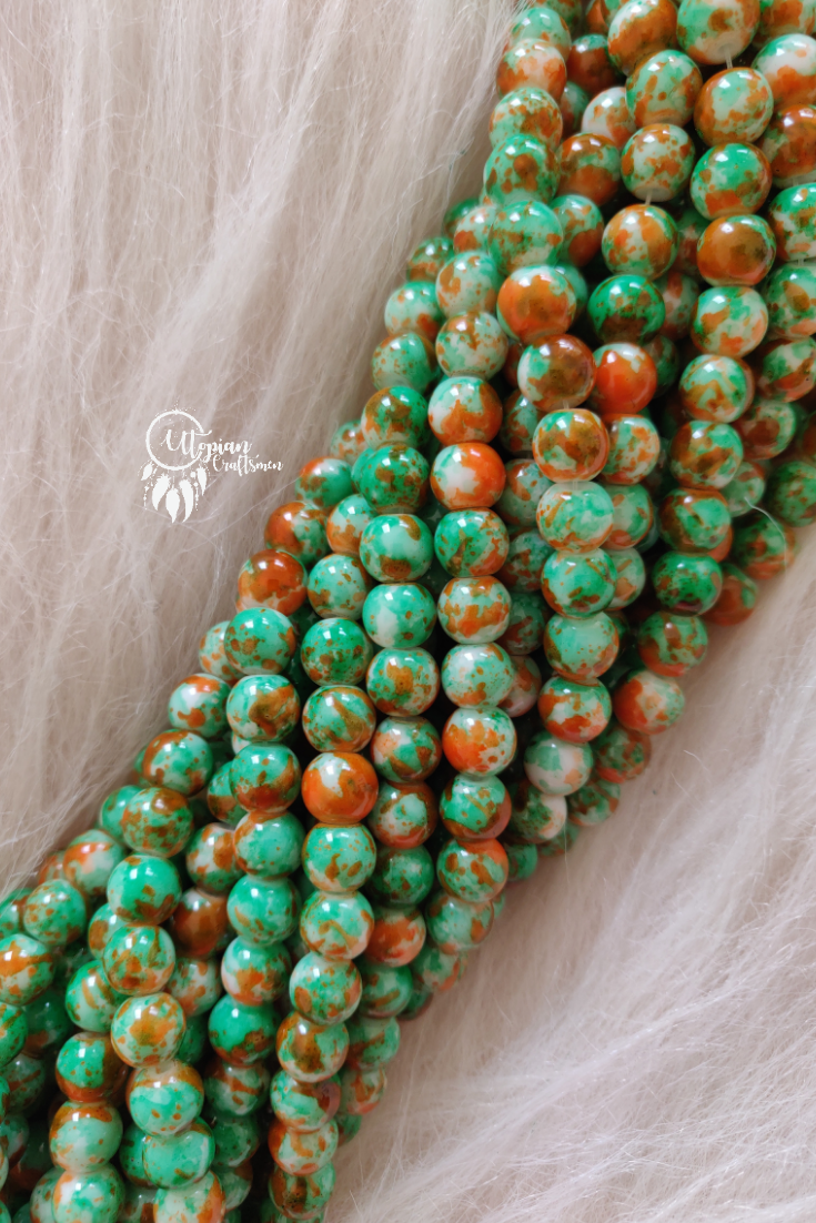 Green Orange Shaded Colour Round Glass Beads by Utopian Craftsmen - 8mm (50 Pieces) - Utopian Craftsmen