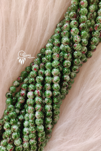 Green Red Shaded Colour Round Glass Beads by Utopian Craftsmen- 8mm (50 Pieces) - Utopian Craftsmen