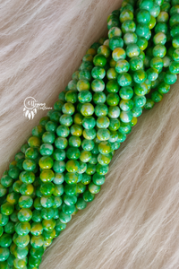 Green Yellow Shaded Colour Round Glass Beads by Utopian Craftsmen - 8mm (50 Pieces) - Utopian Craftsmen