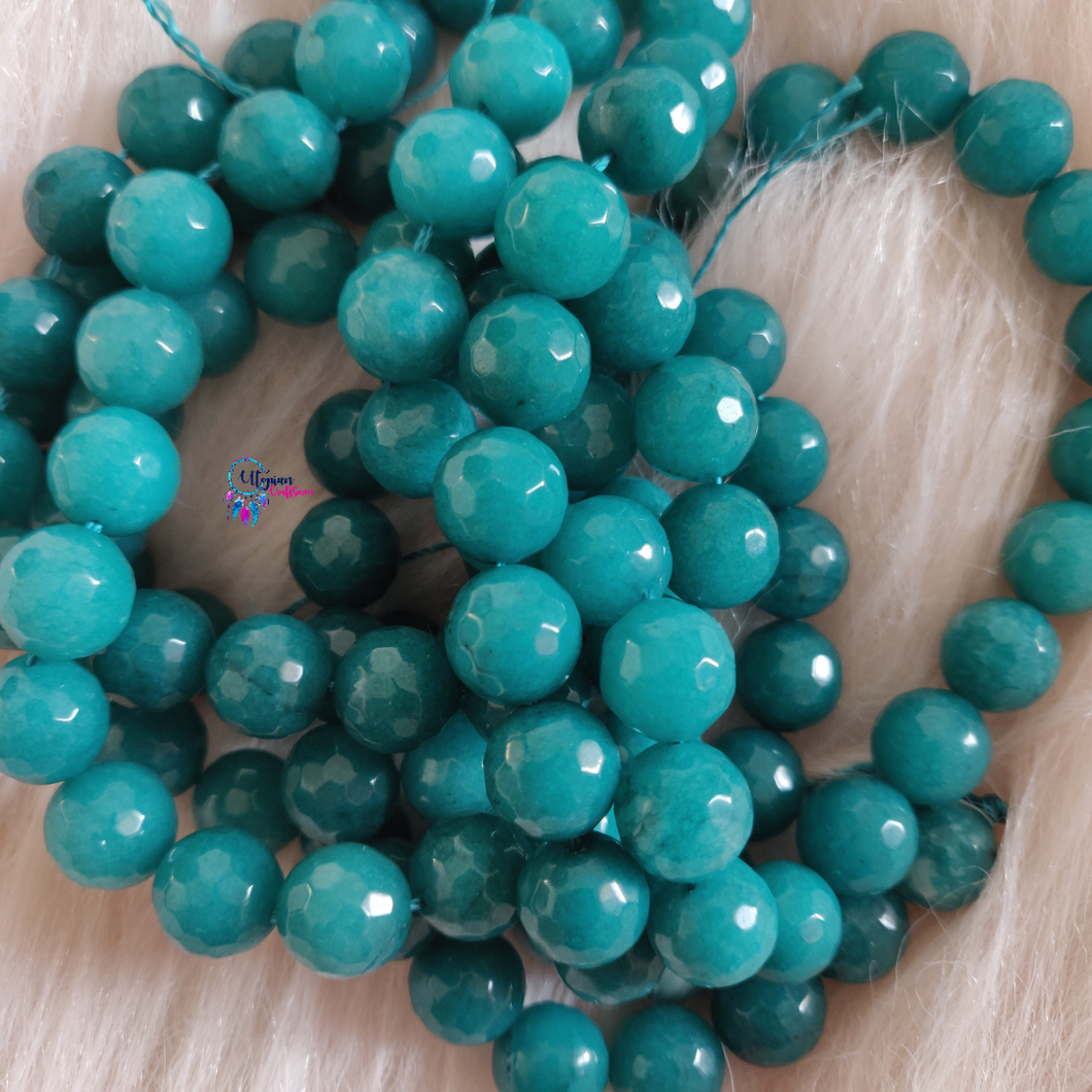Green Colour Round Agate Beads string - 12mm (30+ Beads) - Utopian Craftsmen